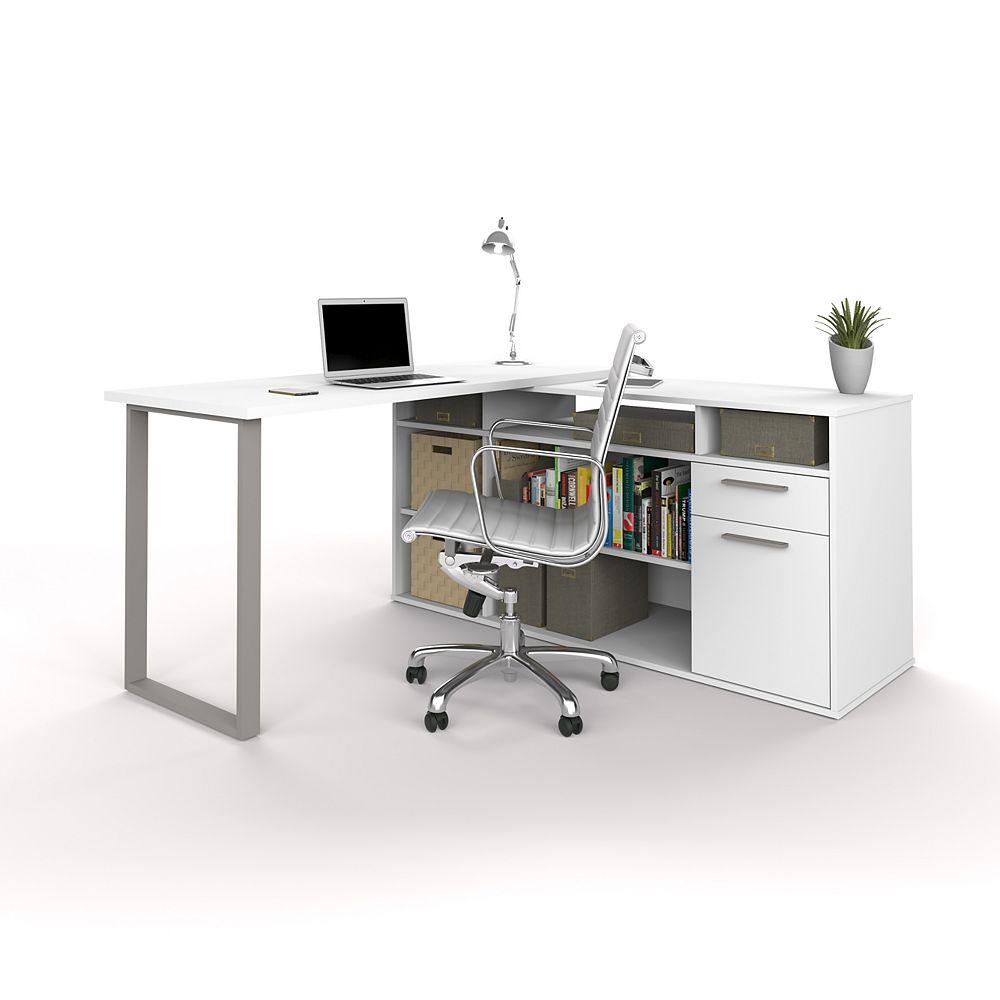 Bestar Solay L-Shaped Desk in White