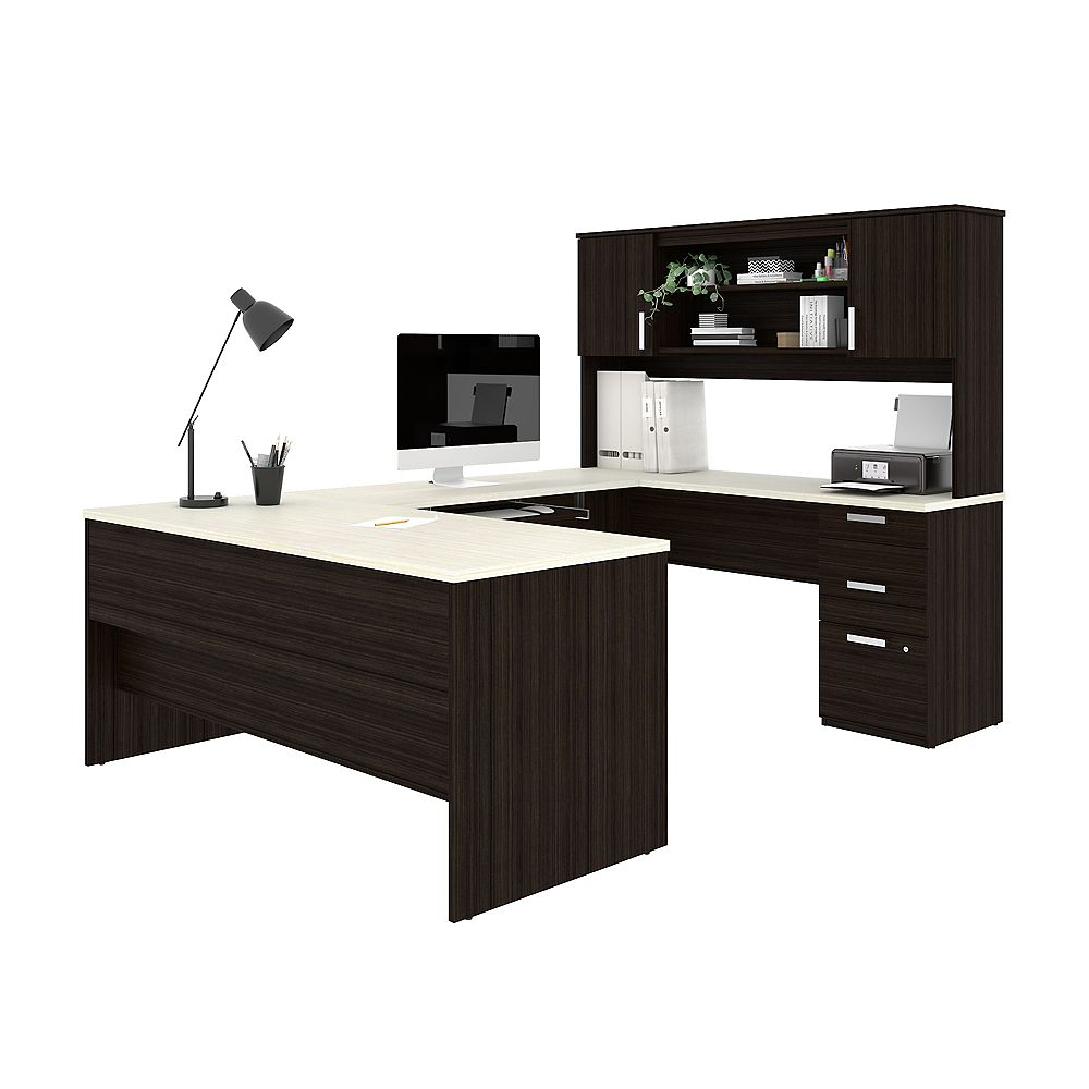 Bestar Ridgeley U-shaped Desk in Dark Chocolate & White Chocolate
