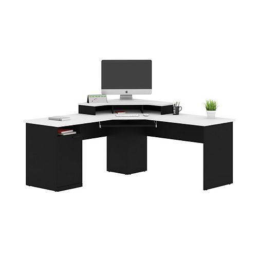 Hampton Corner Desk in Black & White