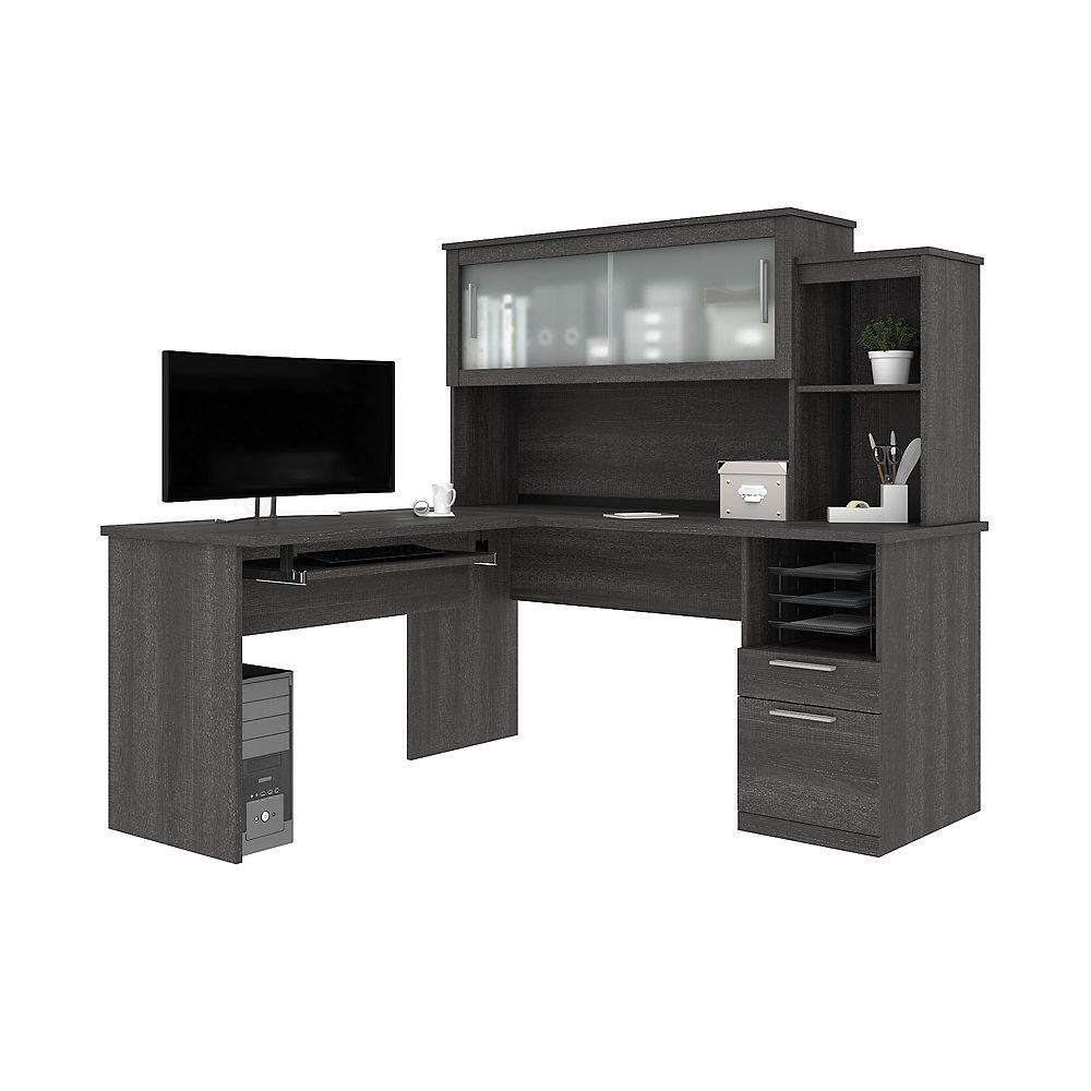 Bestar Dayton by Bestar L-Shaped desk in Bark Gray