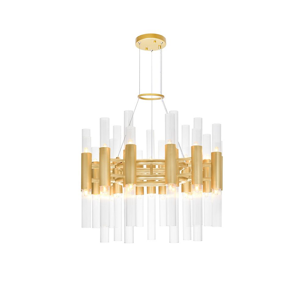 CWI Lighting Orgue 42 Light Chandelier with Satin Gold Finish