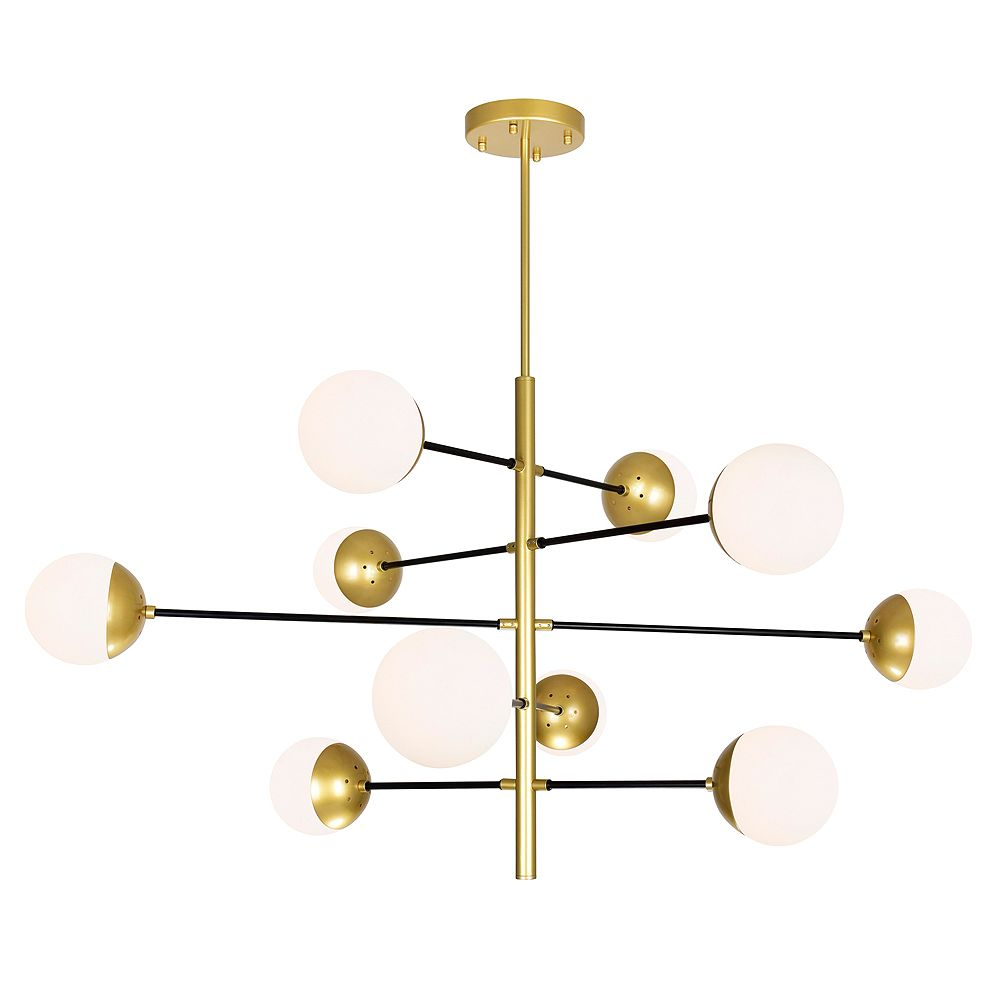 CWI Lighting Compass 10 Light Chandelier with Medallion Gold Finish