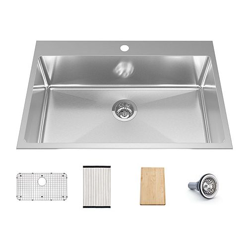 31.3-inch x 20.5-inch x 8-inch Single Bowl 18-Gauge Stainless Steel Workstation Sink