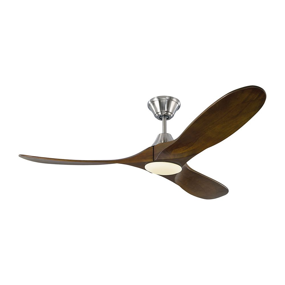 Monte Carlo Fans Maverick II 52-inch Integrated LED Indoor/Outdoor Brushed Steel Ceiling Fan