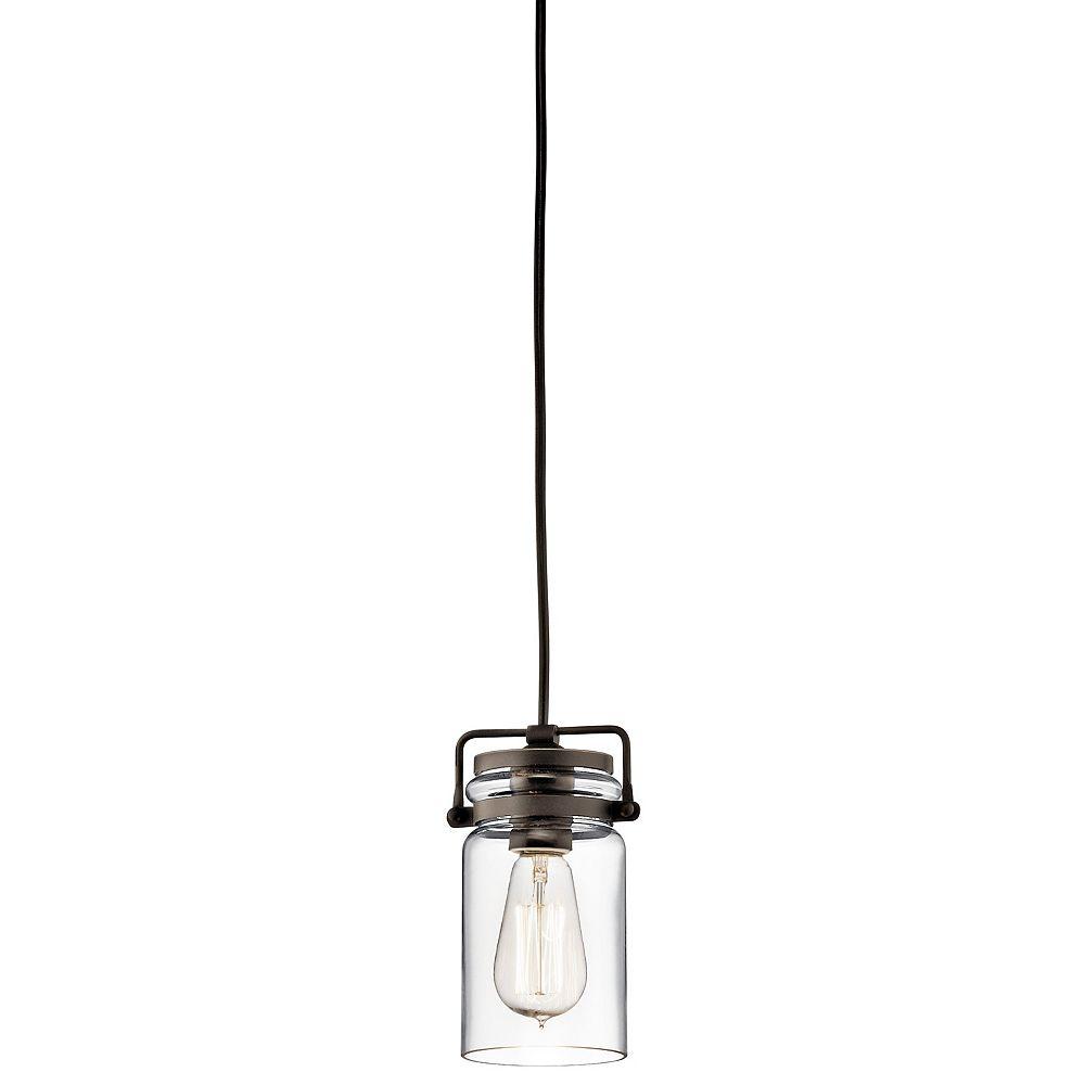 Kichler Brinley 1-Light Olde Bronze Mini Pendant Light with Clear Glass