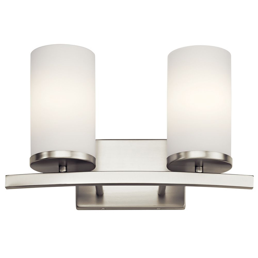 Kichler Crosby 2-Light Brushed Nickel Vanity Light with Satin Etched Opal Glass
