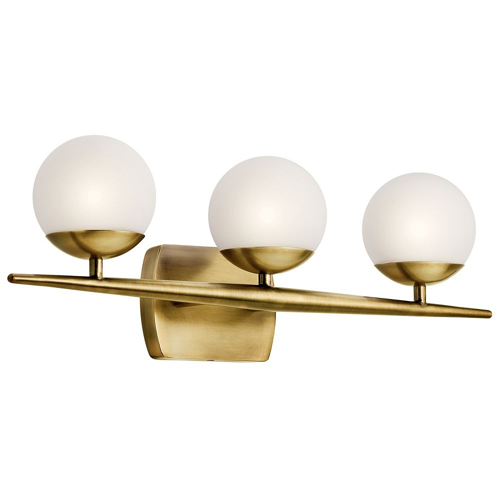 Kichler Jasper 6.25 in. 3-Light Natural Brass Vanity Light with Etched Glass Shade
