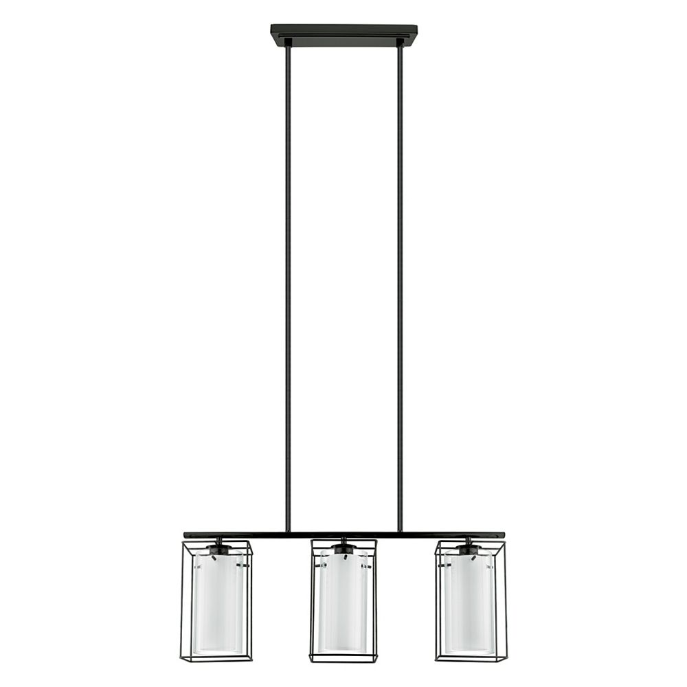 Eglo Loncino-1 Pendant Light 3L, Black Finish with White & Clear Glass