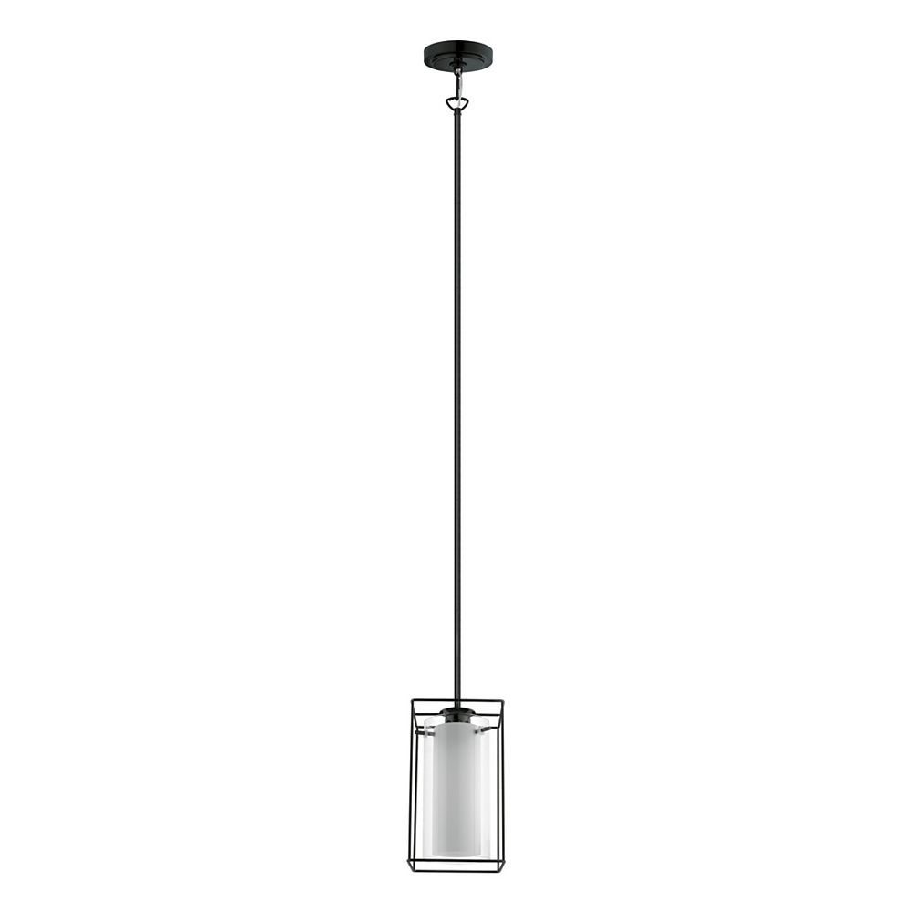 Eglo Loncino-1 Pendant Light 1L, Black Finish with White & Clear Glass