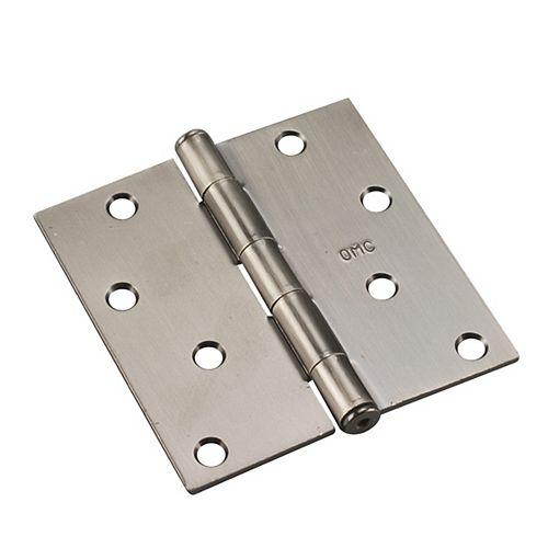 Paquet de 3 - 3 1/2 po (89 mm) Penture à mortaiser  rayon de 5/8 po, Nickel antique