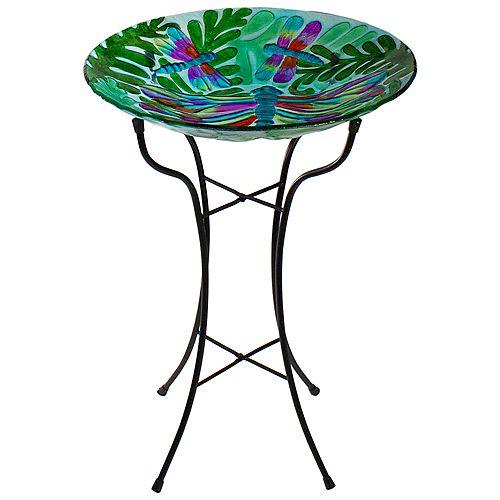 """Bain d'oiseau extérieur en verre peint à la main avec libellule colorée de 18 """"avec feuilles vertes"""