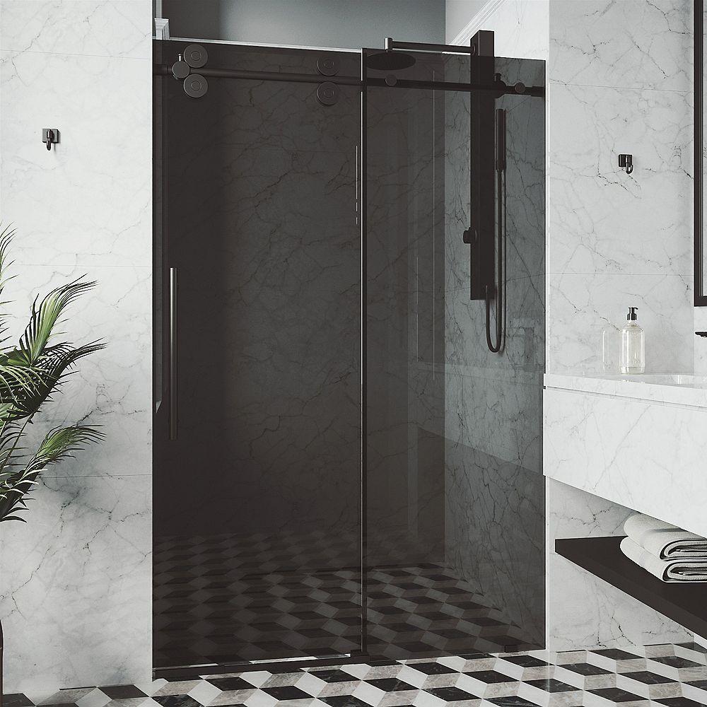 VIGO Elan 56 in. to 60 in. x 74 in. Frameless Sliding Shower Door in Matte Black with Black Glass & Handle