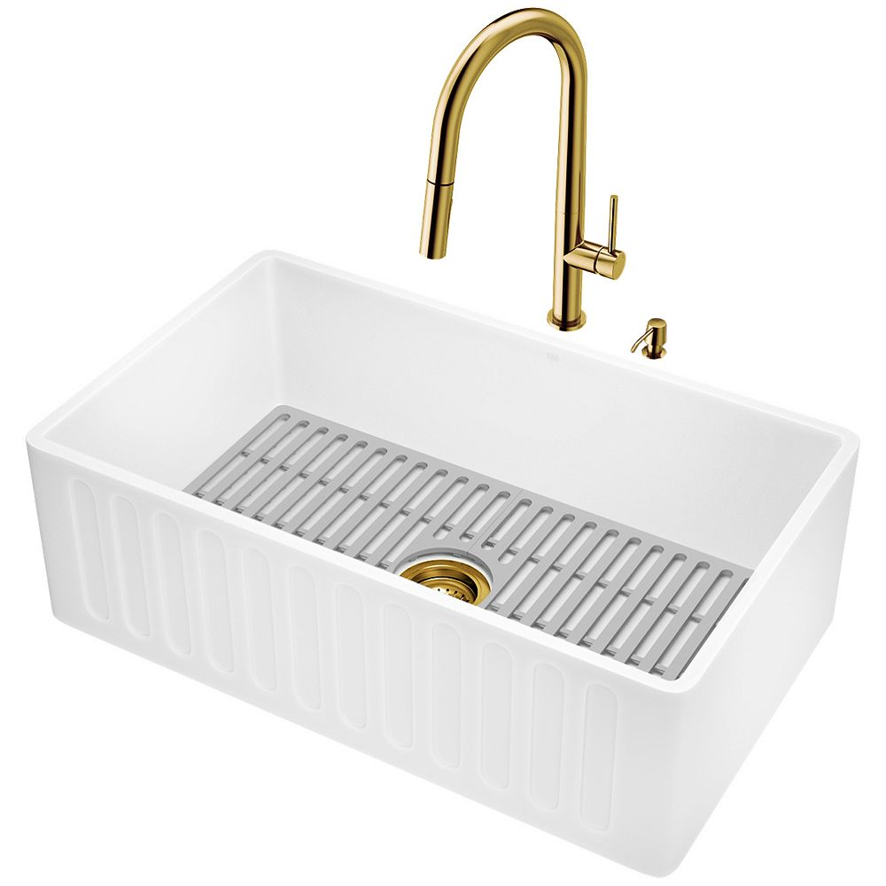 VIGO Matte Stone Composite Single Bowl White 30 in. Farmhouse Apron-Front Kitchen Sink with Pull Down Faucet and Accessories