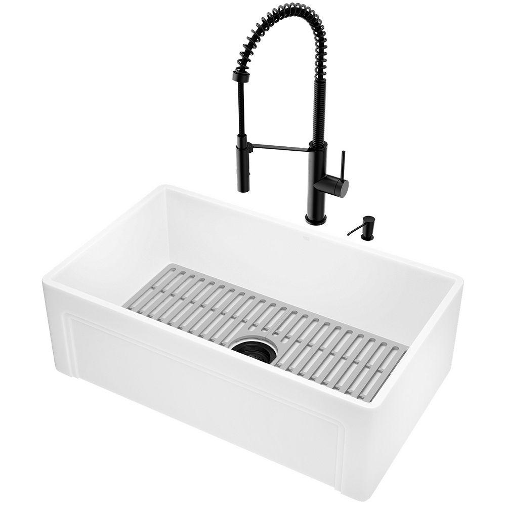 VIGO Matte Stone White Composite 30 in. Single Bowl Casement Farmhouse Apron-Front Kitchen Sink with Faucet and Accessories