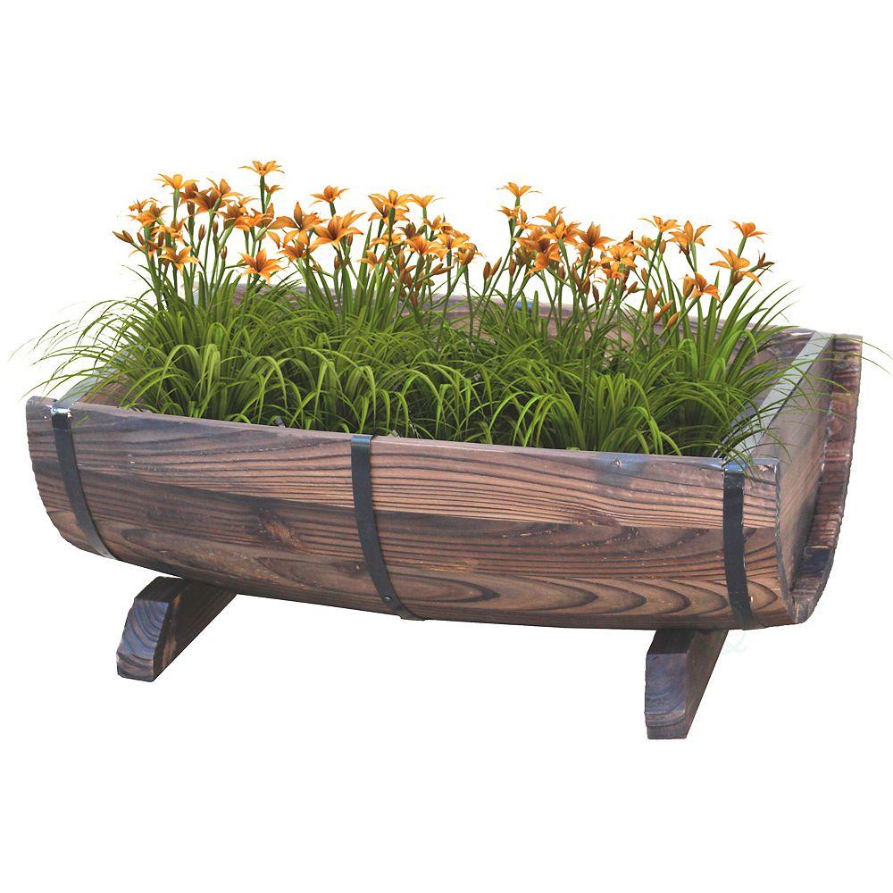 Gardenised Half Barrel Adjustable Deck Railing Planter 20 inch