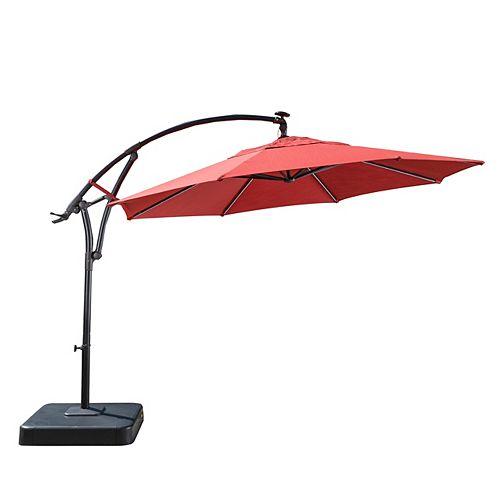 11 ft. Solar Light Bar Offset Patio Umbrella in Chili Red