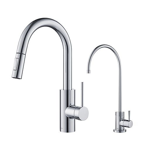Oletto 1-Handle Pull-Down Faucet and Filtration Faucet in Chrome