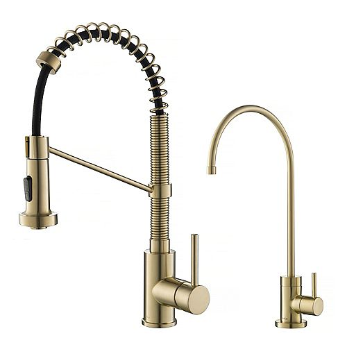 Kraus Bolden 1-Handle Pull-Down Faucet and Filtration Faucet in Brushed Gold