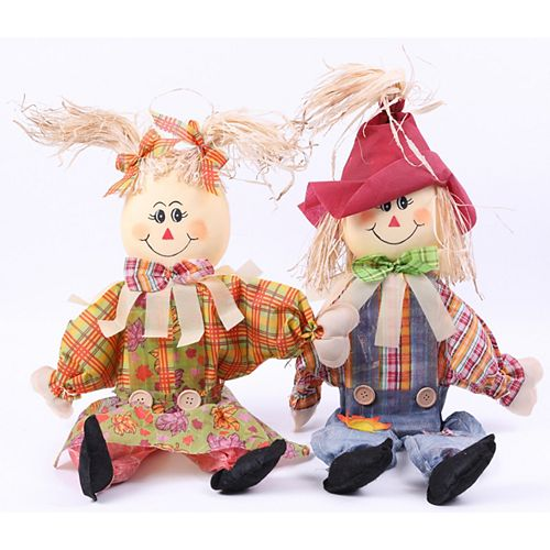 24 Inch Sitting Scarecrow Sister and Brother Set with Red Hat