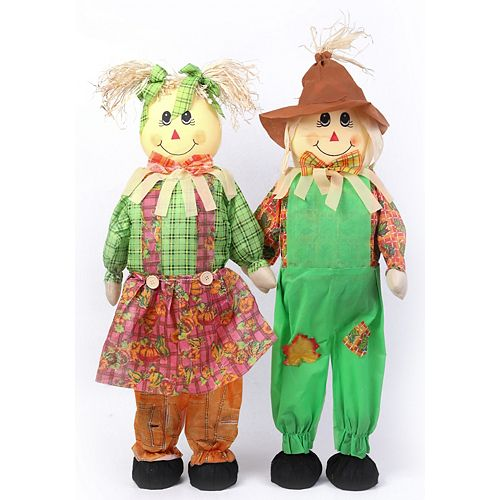 36 Inch Standing Scarecrow Sister and Brother Set
