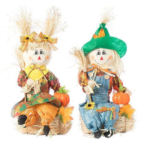 Set of 2 Garden Scarecrows Boy and Girl