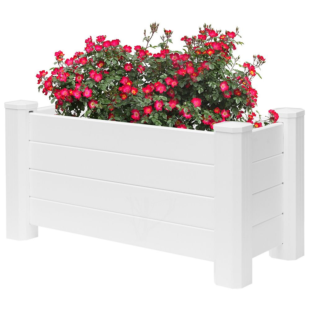 Gardenised White Vinyl Traditional Fence Design Garden Bed Elevated Screwless Raised Planter Box