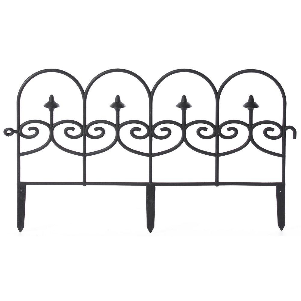 Gardenised Decorative Black Vinyl Garden Patio Lawn Fence Landscape Panel Border Ornamental Edging