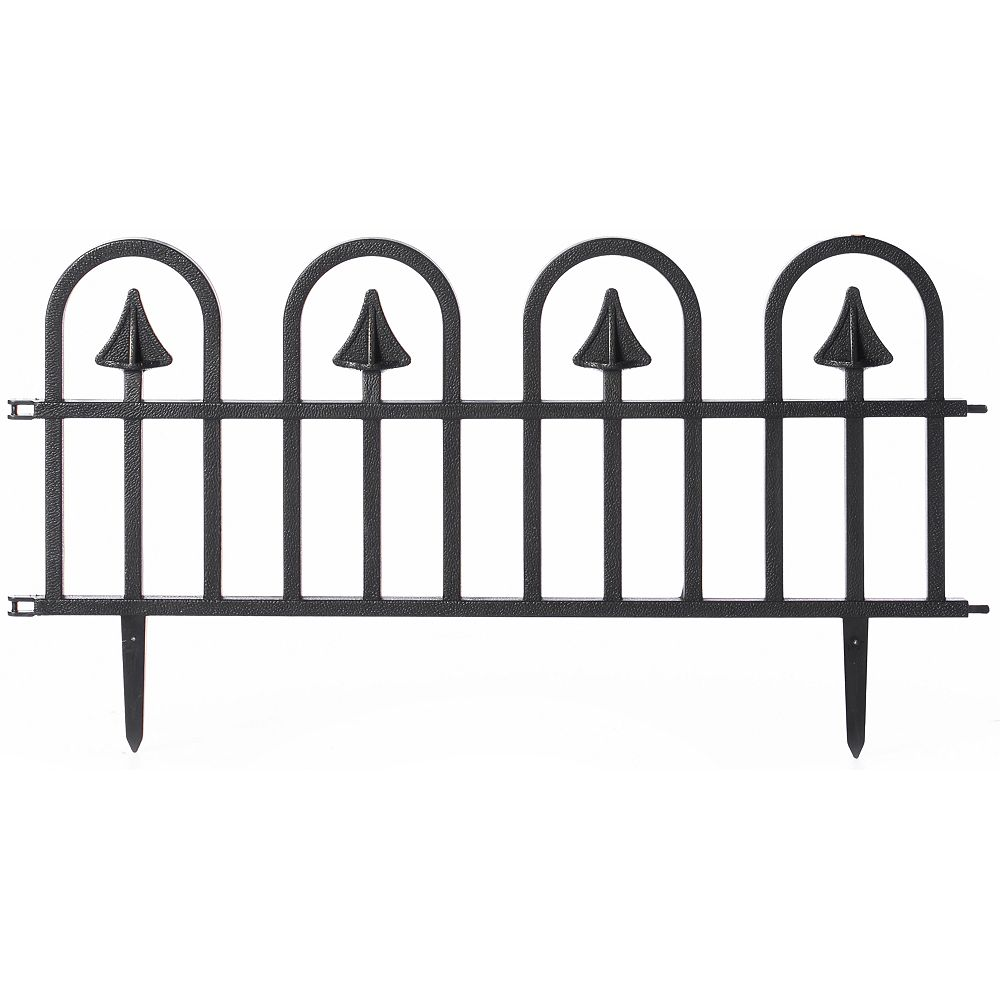 Gardenised Black Vinyl Wrought Iron- Look Garden Lawn Fence Landscape Panel Border Garden Edging