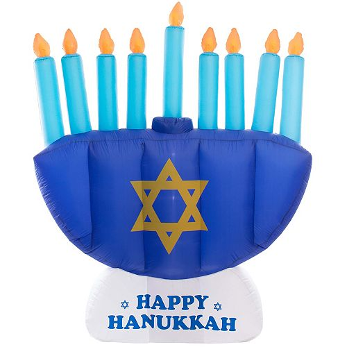 Gardenised Giant Hanukkah Inflatable Menorah - With Built-in Bulbs, Tie-Down Points, and Powerful Built in Fan