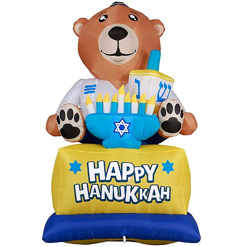 Giant Hanukkah Inflatable Bear - With Built-in Bulbs, Tie-Down Points, and Powerful External Fan