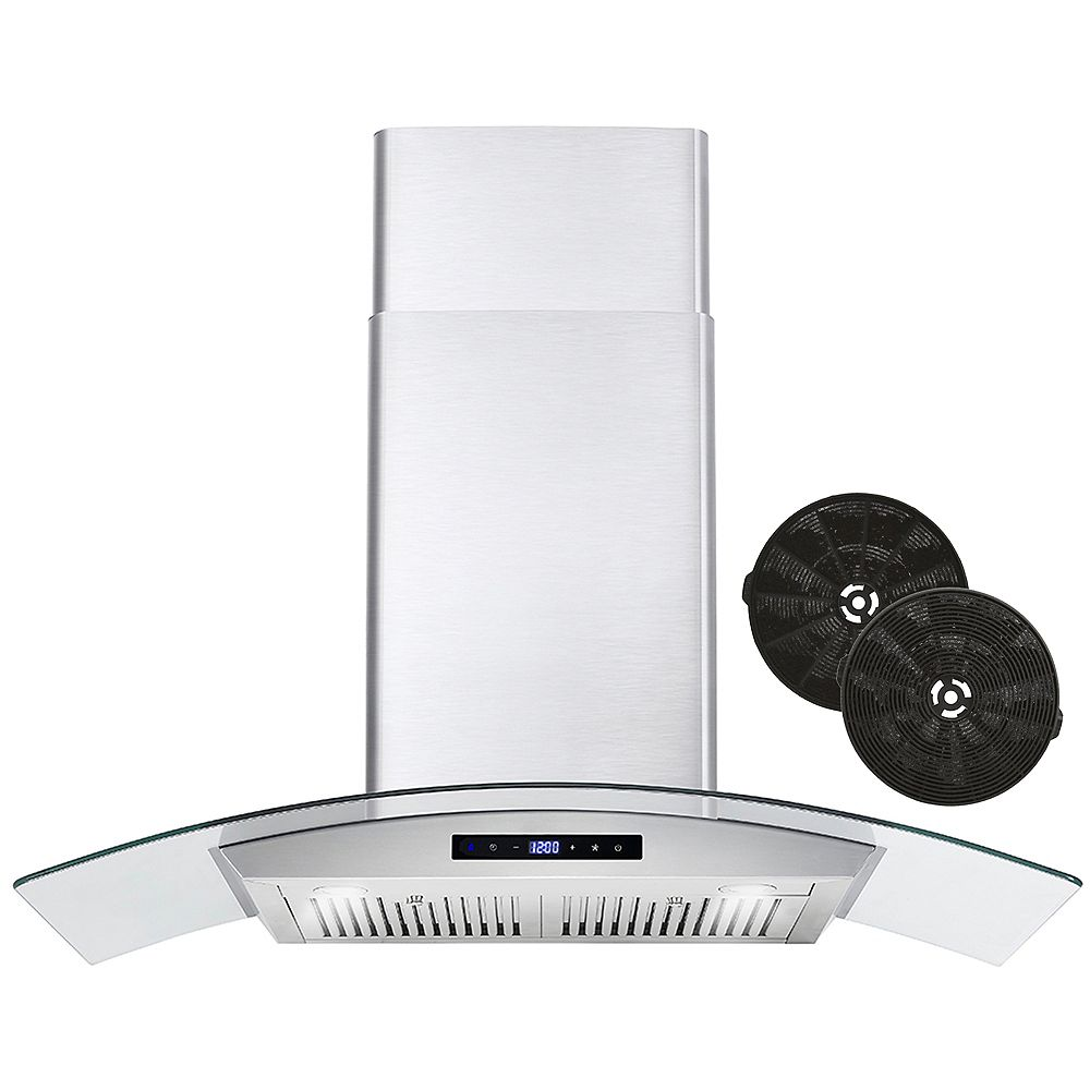 Cosmo 30 in. Ductless Wall Mount Range Hood, Soft Touch, with Carbon Filter Kit for Recirculating