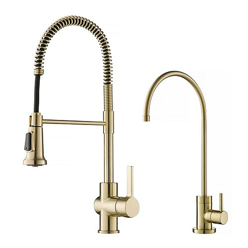 Commercial Faucet and Water Filter in Antique Champagne Bronze