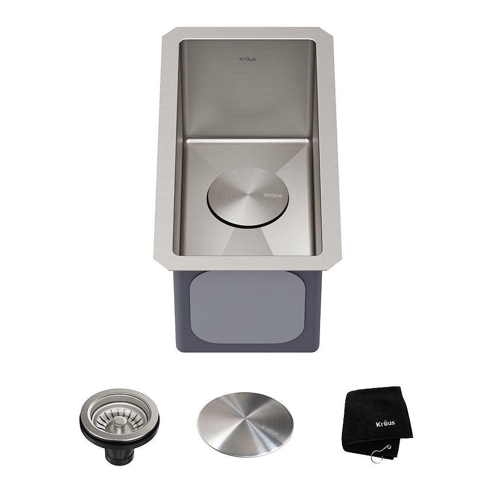 Kraus Standart PRO 10 Undermount 16 Gauge Stainless Steel Single Bowl Bar Prep Kitchen Sink