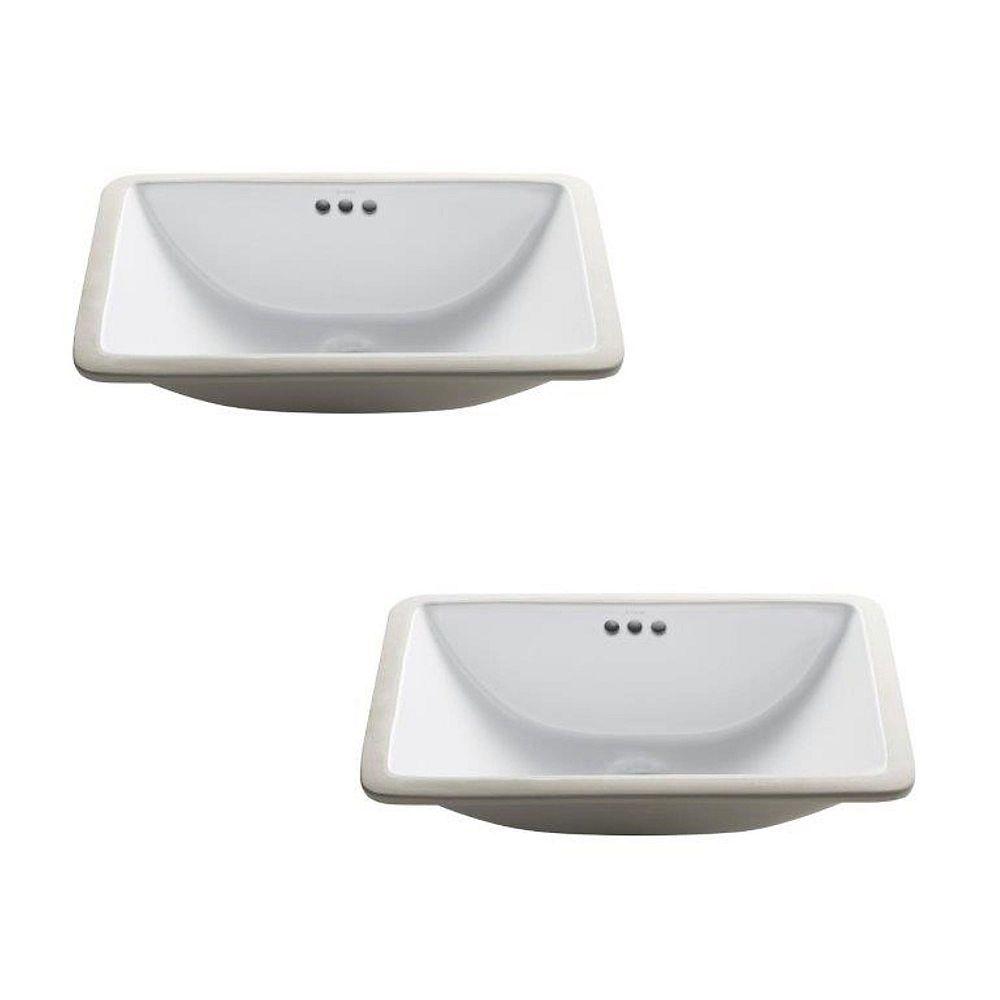 Kraus 21-inch Rectangular Undermount White Bathroom Sink with Overflow (2-Pack)