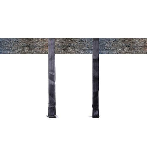 Hanging Black Nylon Straps with Metal Carabiners, Set of 2