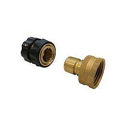 3-Piece Universal Pressure Washer to Garden Hose Quick-Connect Kit - in Brass