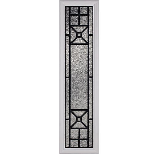 Courtyard Low-E Argon Glass with Patina Caming 8 in. x 36 in. x 1 in. Sidelight with White Frame