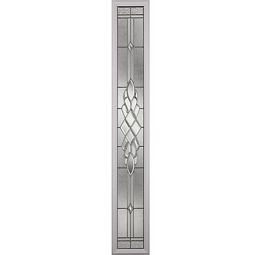 Grace Low-E Argon Glass with Nickel Caming 8 in. x 64 in. x 1 in. with Sidelight White Frame