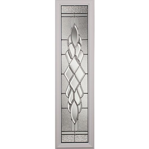 Grace Low-E Argon Glass with Nickel Caming 8 in. x 36 in. x 1 in. with Sidelight White Frame