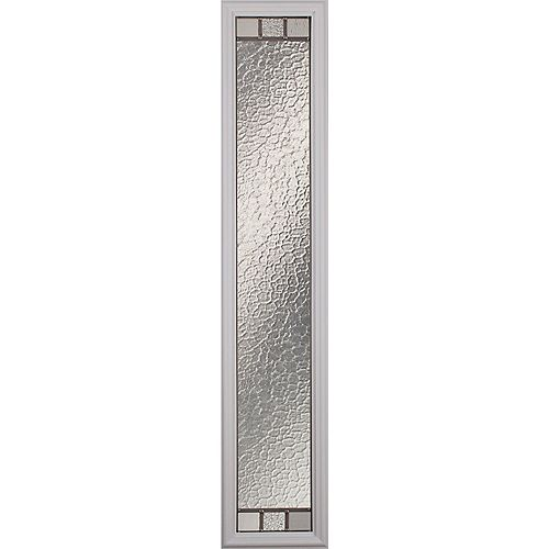 Jardin Low-E Argon Glass with Satin Nickel Caming 8 in. x 64 in. x 1 in. Sidelight with White Frame