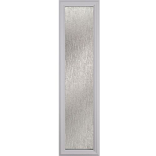Rain 8 in. x 36 in. x 1 in. Sidelight with White Frame