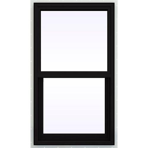 "24""x36"" Frame, 3500 Series Vinyl Single Hung Window, Black Exterior, Low-E, Argon, screen"
