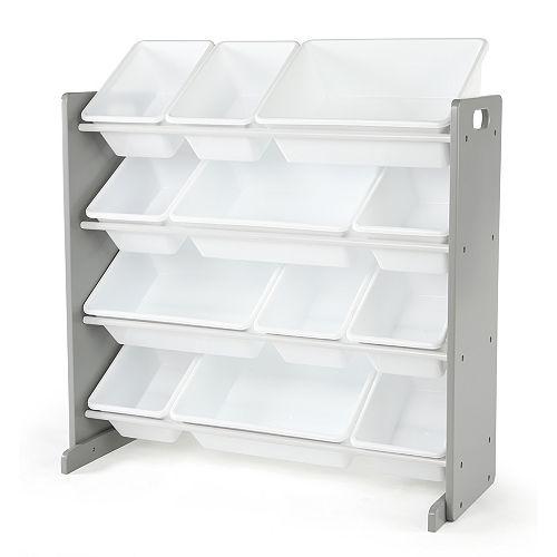 Grey Toy Storage Organizer with 12 Storage Bins