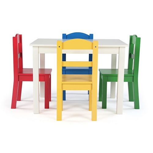 Multi Colored Kids Wood Table and 4 Chair Set