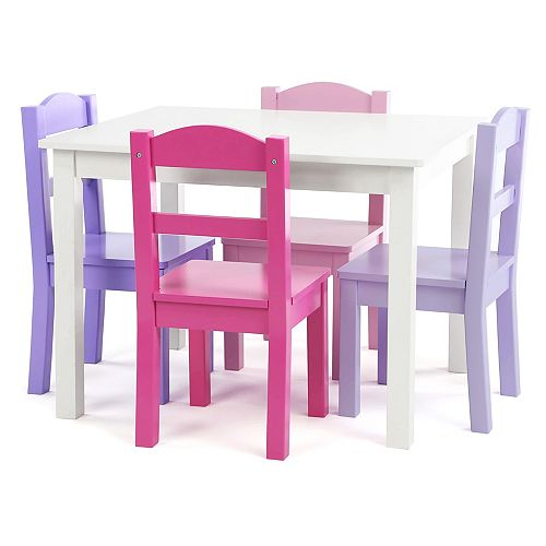 Pink/Purple Kids Wood Table and 4 Chair Set