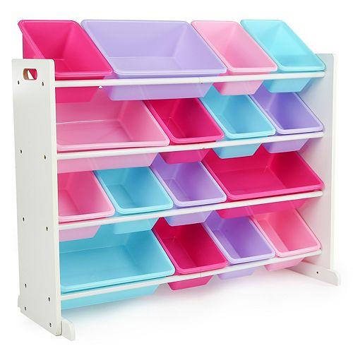 Kids Pink Multi Colored Super Sized Toy Storage Organizer with 16 Storage Bins