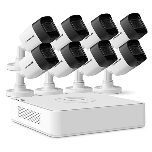8 Channel 8 Camera 4K 2TB DVR Indoor/Outdoor Home Surveillance Security Camera System (Wired)