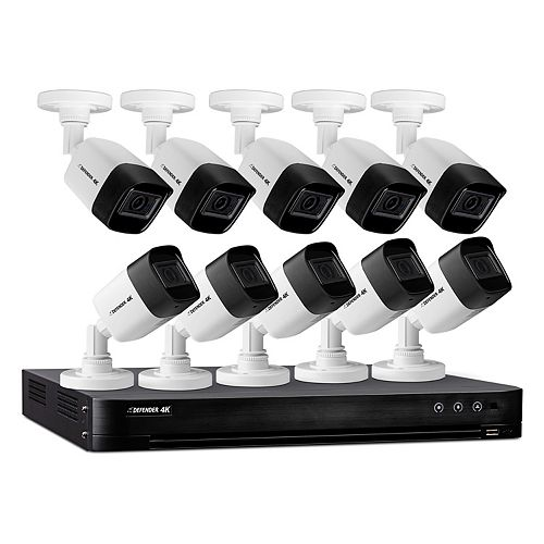 16 Channel 10 Camera 4K 4TB DVR Indoor/Outdoor Home Surveillance Security Camera System (Wired)