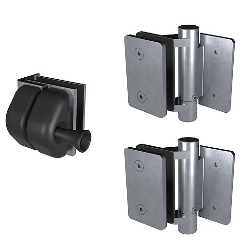 Peak Products MountainView Glass Deck Railing Gate Latch & Hinges in Brushed Stainless Steel