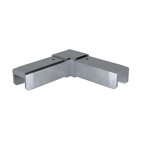 Peak Products MountainView Glass Deck Railing Corner Bracket in Brushed Stainless Steel